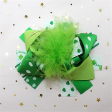 Adogirl 10pcs 5 Inch Saint Patrick Hair Bows Green Feather Four Leaf Clover Print Ribbon Accessories Boutique Hairgrips