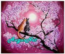 moon diamond painting cats lover diamant embroidery picture animals diamond dots tree oil paint by numbers canvas new arrivals(China)