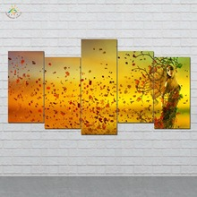 Beautiful Autumn Leaves Girl Picture And Poster Canvas Painting Modern Wall Art Print Pop Pictures 5 PIECES