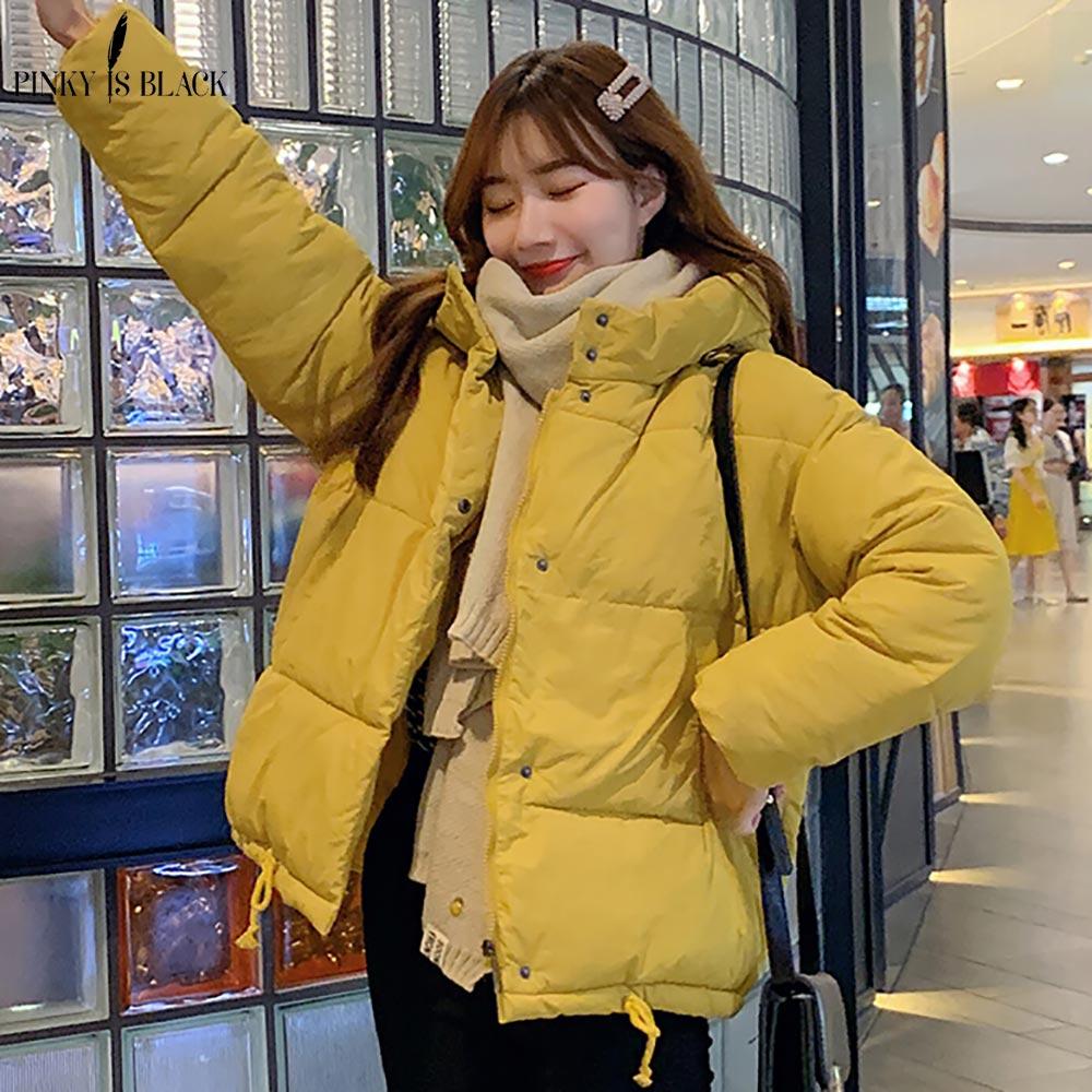 PinkyIsBlack осенне зимняя женская куртка, пальто 2019, модное женское зимнее пальто с капюшоном, женские короткие парки, теплая Повседневная Женская куртка