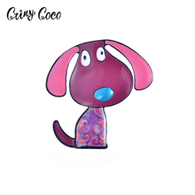 Cring Coco Dog Brooch Enamel Brooches Men Women Suits Dress Hat Collar Pins Animal Fashion Jewelry Scarf Buckle Gift