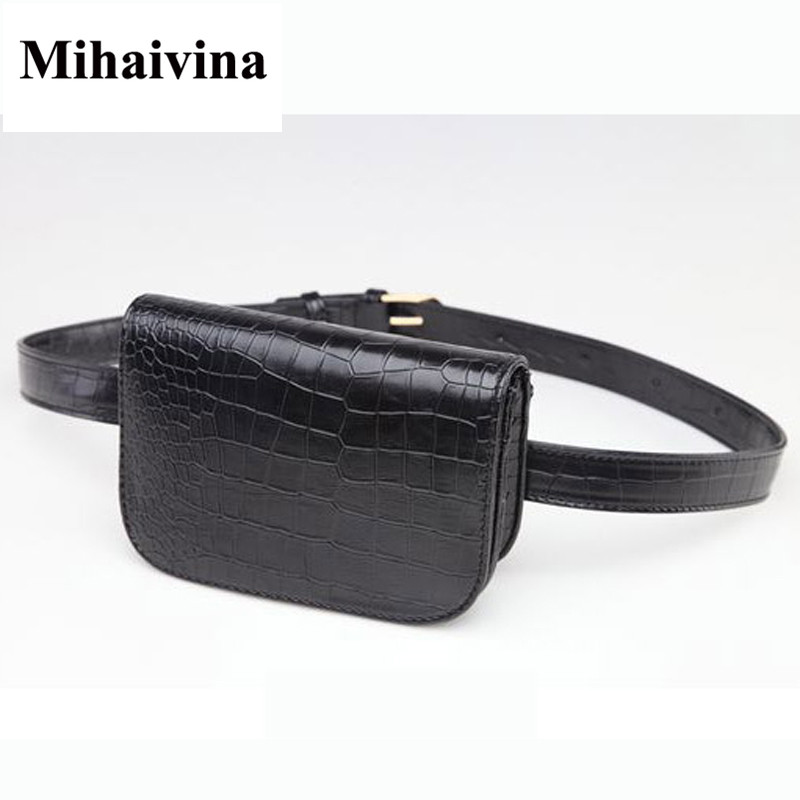 Mihaivina Fashion Women Alligator Waist Pack Famous Brand Women Leather Waist Belt Bag Fanny Packs Waist Pouch Phone Bag цена