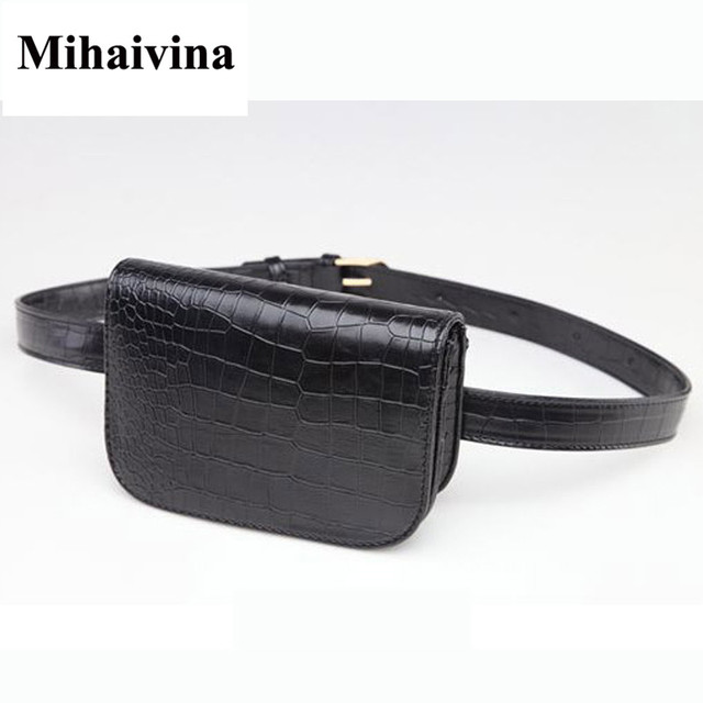 Mihaivina Fashion Women Alligator Waist Pack Famous Brand Women Leather Waist Belt Bag Fanny Packs Waist Pouch Phone Bag