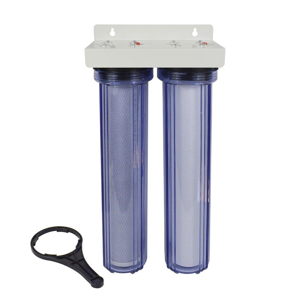 2 этап весь дом фильтр для воды Системы с ПП осадка и премиум угольный фильтр 5 микрон, 3/4 на входе прозрачный корпус