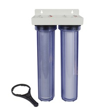 2-Stage Whole House Water Filter System with PP Sediment and Premium Carbon Block 5 Micron ,3/4inlet-Transparent Body