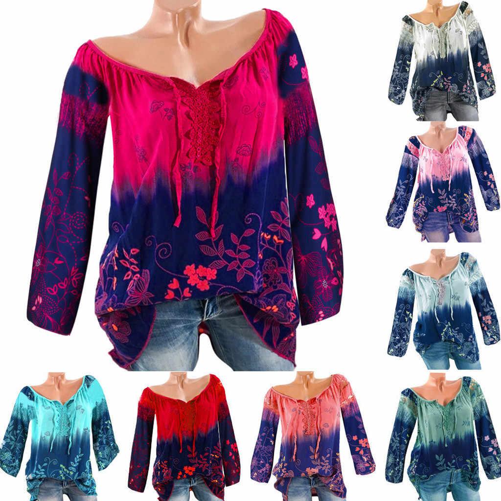 Mujeres Tops blusas 2019 otoño mujer cuello en V encaje estampado vendaje mangas largas talla grande blusa suelta