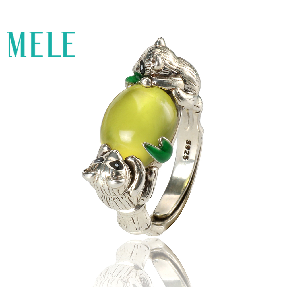 Yellow prehnite silver 925 Jewelry Sets,Animal Panda shape,fashion and trendy natural gemstone jewelry
