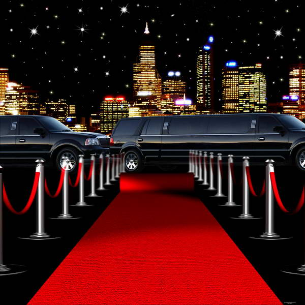 10x10ft starry night city skyline vintage car red carpet