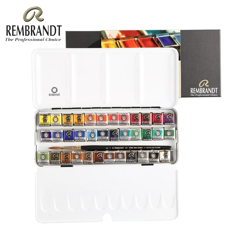 Rembrandt 12/24/48Colors Solid Watercolor Paint Set Metal Deluxe Half Pans Watercolor Painting Pigment Pocket Set Art Supplies