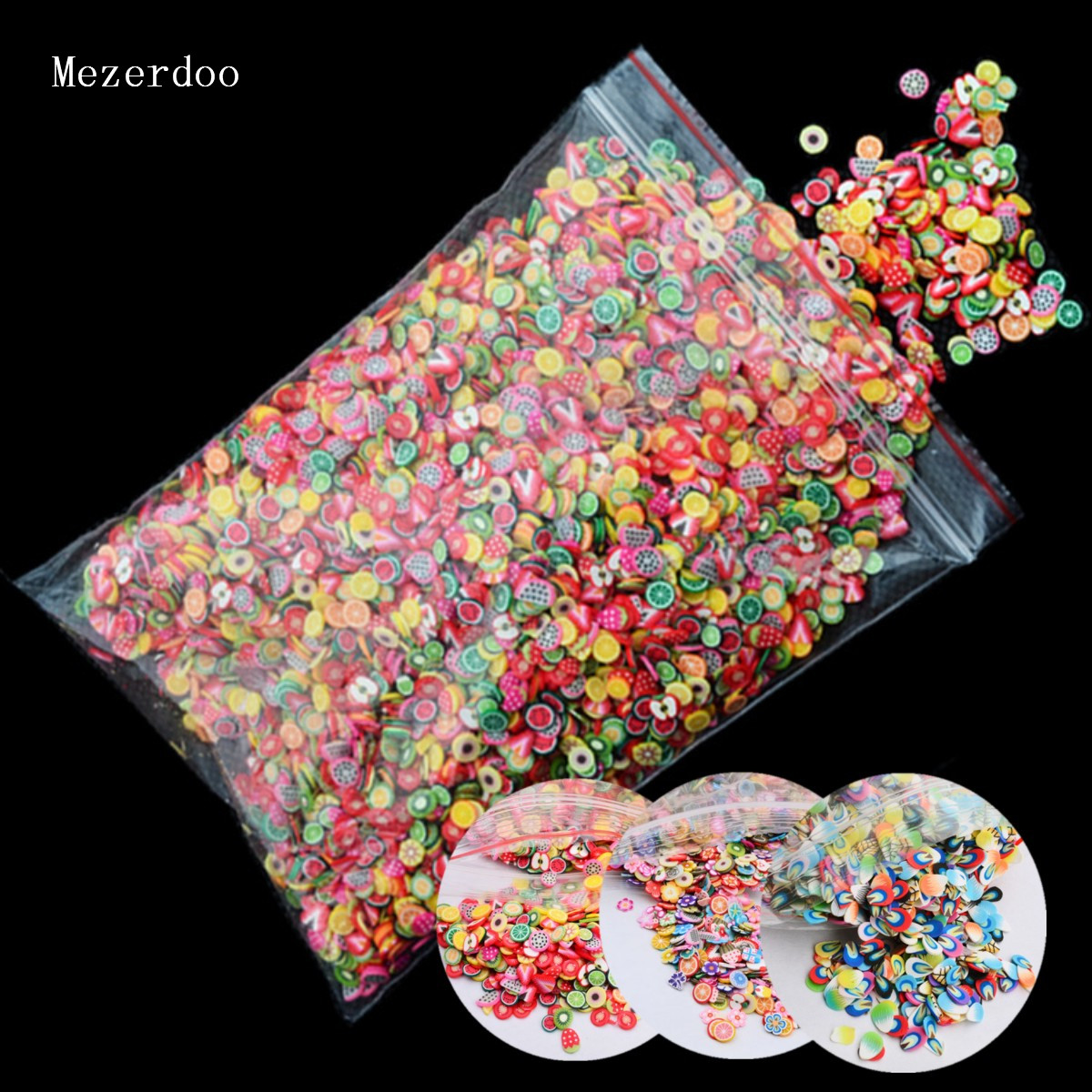 10000pcs/pack 3D Nail Art Fruit Fimo Slices Polymer Clay DIY Slice Decoration Smile Feather Nail Sticker Nail Jewelry Wholesale new 1pack 50pcs fimo nail stickers fimo canes fruit 3d nail art decoration polymer clay animal flower fimo rods nail diy design