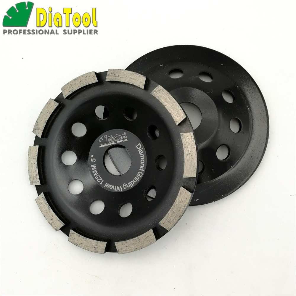 DIATOOL 2pcs 5inch Diamond Grinder Disk 125MM Single Row Grinding Cup Wheel For Granite Marble Concrete