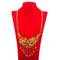 Luxury Bridal Jewelry Wedding Oro Giallo Riempito Drago e Fenice Collana Dichiarazione Accessori Da Sposa