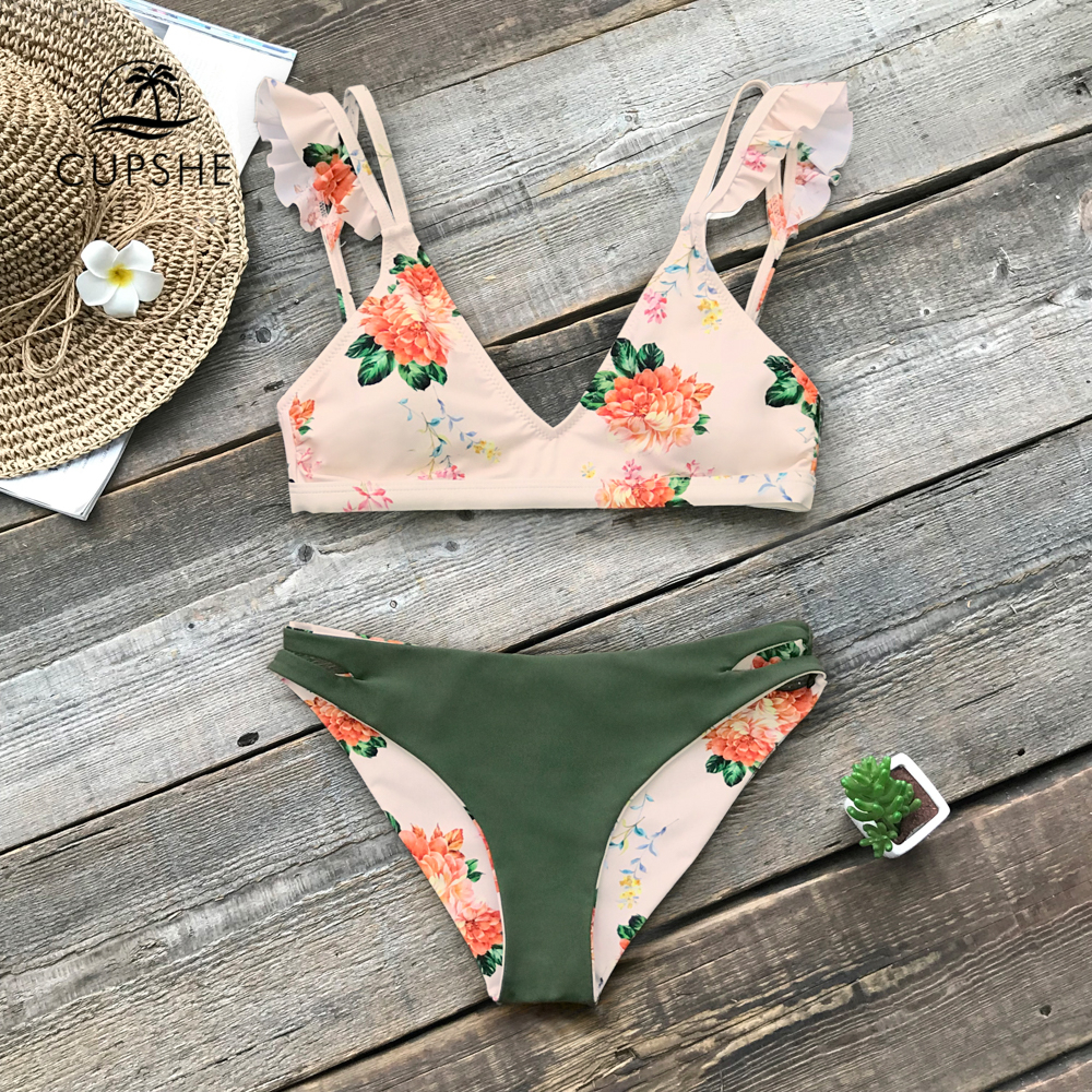 CUPSHE Floral Print Ruffle Reversible Bikini Sets Women Sexy Thong Two Pieces Swimsuits 2020 Girl Beach Bathing Suits 1