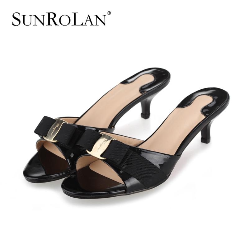 ФОТО SUNROLAN Plus Size 10 11 Thin High Heels Sandals Women Sandals Metal Decoration Summer Genuine Leather Women Solid Slippers 6063