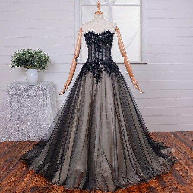 Elegant Sweetheart Lace Applique Gothic Wedding Dress See Through