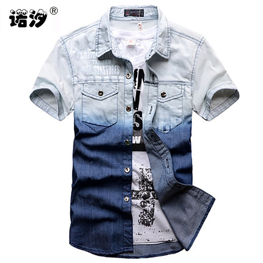 Boys clothes children casual denim   shirt   cowboys short sleeve tops Children Cotton denim jacket teenage   blouse   kids summer   shirt