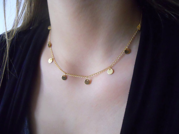 914237cec41 brand street beat Gold disc pendant Necklace,cute choker Necklace charming  body jewelry everday jewelry bobo gift for her