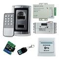 Full set kit metal biometric fingerprint access control F007+electric drop bolt lock+power supply+exit button+remote control