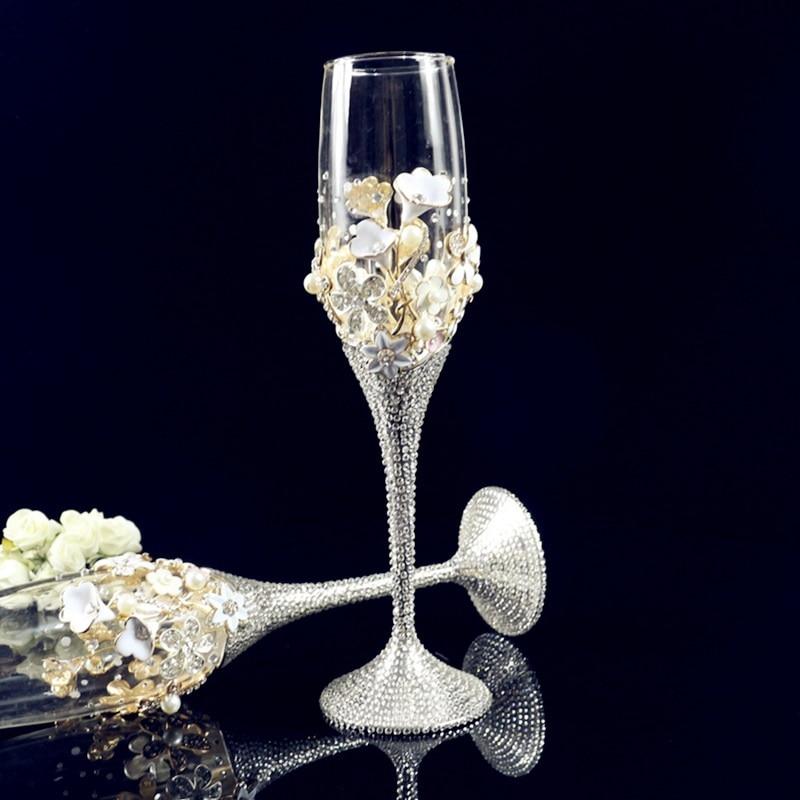 Coupe à Champagne rougeoyante diamant embellissement exquis tasse tactile et couleur vive cadeau de mariage personnalisé
