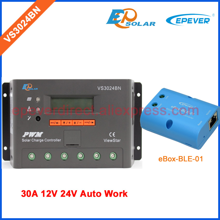 PWM 30A Solar Charge Controller 12V 24V LCD Display EPSolar/EPEVER eBOX-BLE-01 bluetooth VS3024BN Solar PV cells controller 24v 30amp epsolar epever new series solar controller vs3024bn charger lcd display 30a 12v 24v auto work