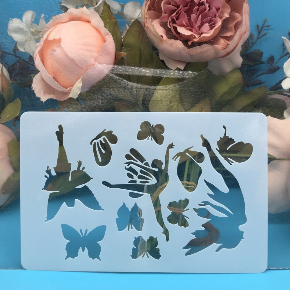 15cm Fairy Girl Butterfly DIY Craft Layering Stencils Wall Painting Scrapbooking Stamping Embossing Album Decor Card Template