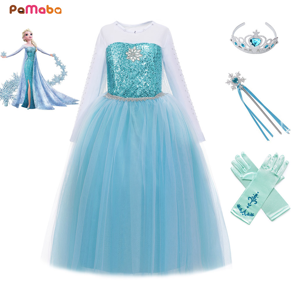 PaMaBa Girls Halloween Birthday Snow Queen Outfit Long Sleeve Sequined Princess Elsa Dress Party Clothing Kids Cosplay Costume нож morakniv service knife длина лезвия 43мм