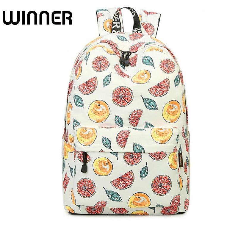 Casual Waterproof Beige Fruit Lemon Pattern Printing Female Backpacks Large Capacity Lady Travelling Style Bookbags ...
