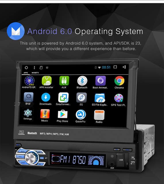 US $249 76  1 DIN Stereo android Car Radio MP4 GPS Navigation Double Screen  HD 7 inch Retractable Touch Screen Car Monitor Bluetooth SD USB -in Car