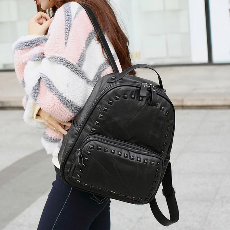 Fashion Women Rivet Backpack Genuine Leather Black Shoulder Bag Big School Bags For Teenagers Girls Casual Travel bagpack women backpack fashion pvc faux leather turtle backpack leather bag women traveling antitheft backpack black white free shipping