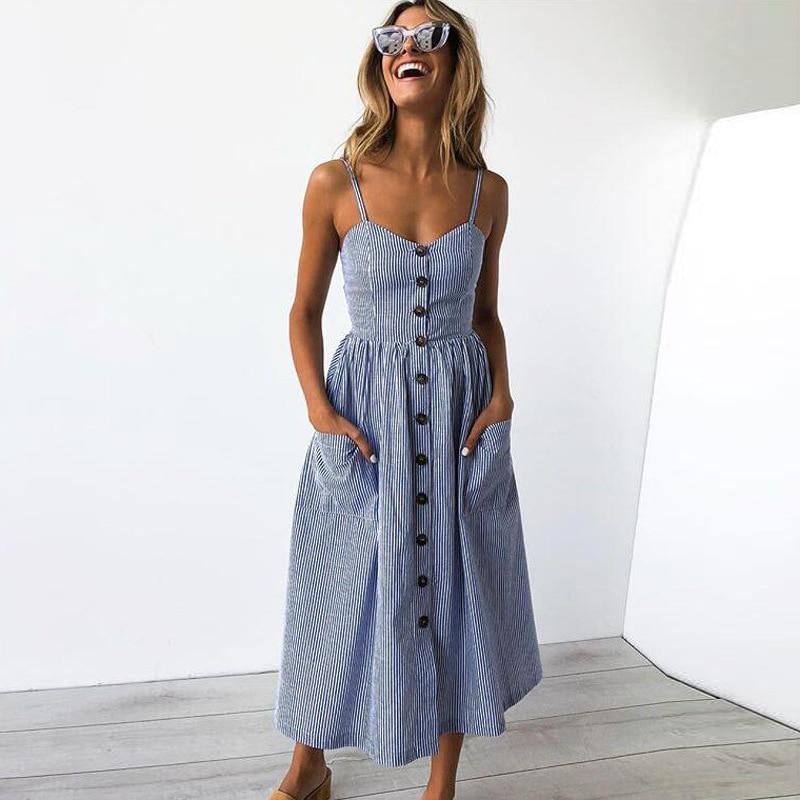 Casual Vintage Sundress Women Summer Dress 2019 Boho Sexy Dress Midi Button Backless Polka Dot Striped Floral Beach Dress Female 1