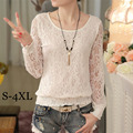 High Quality Spring Autumn Women Lace Blouse O Neck Long-sleeve Slim Elegant Crochet White Shirt For Female Blusa Plus Size A634