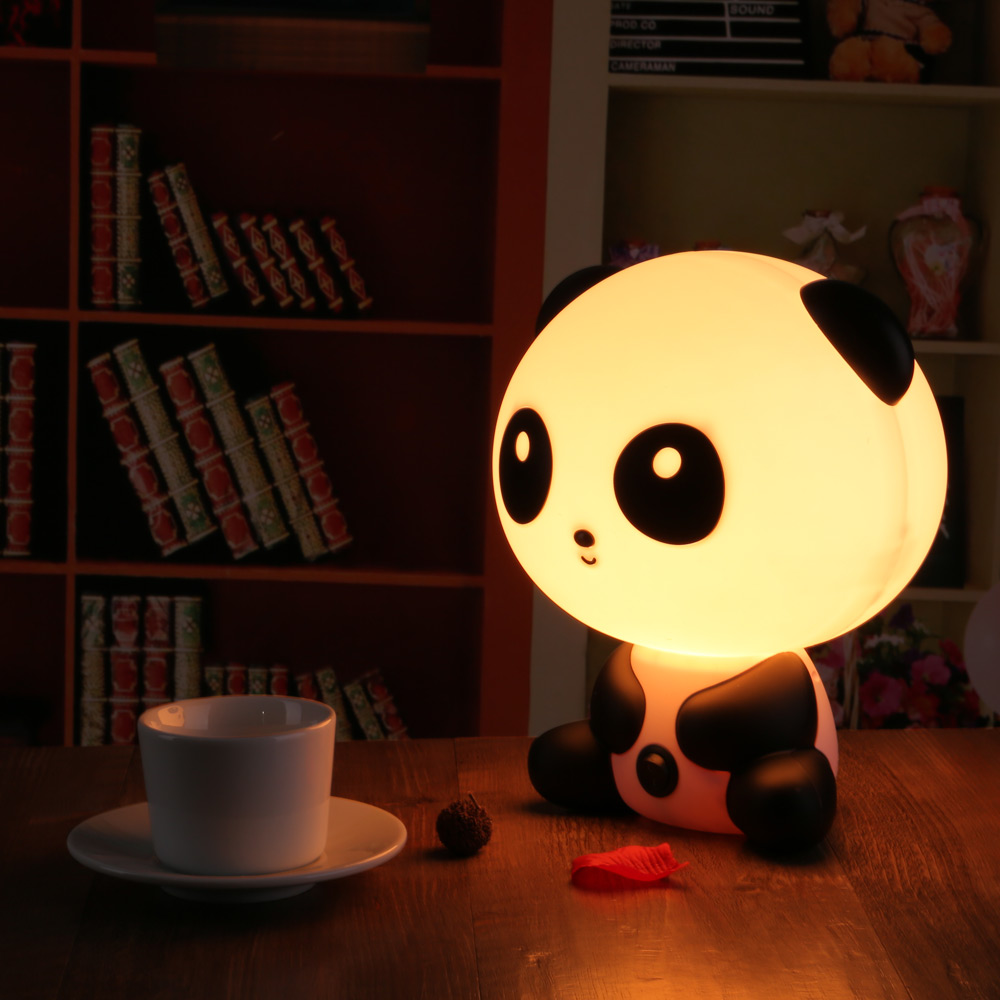 ledertek pretty cute panda bear cartoon animal night light baby room sleeping light bedroom desk. Black Bedroom Furniture Sets. Home Design Ideas