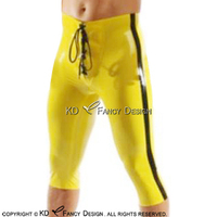 Sexy Latex Boxer Shorts With Single Stripe At Two Sides And Lacing At Front Rubber Boy Shorts Underpants Underwear Pants DK 0147