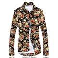 Novo 2017 homens boutique de moda impresso algodão fino lazer longo-sleeved camisas/floral Masculino magro ocasional longo-mangas compridas camisas