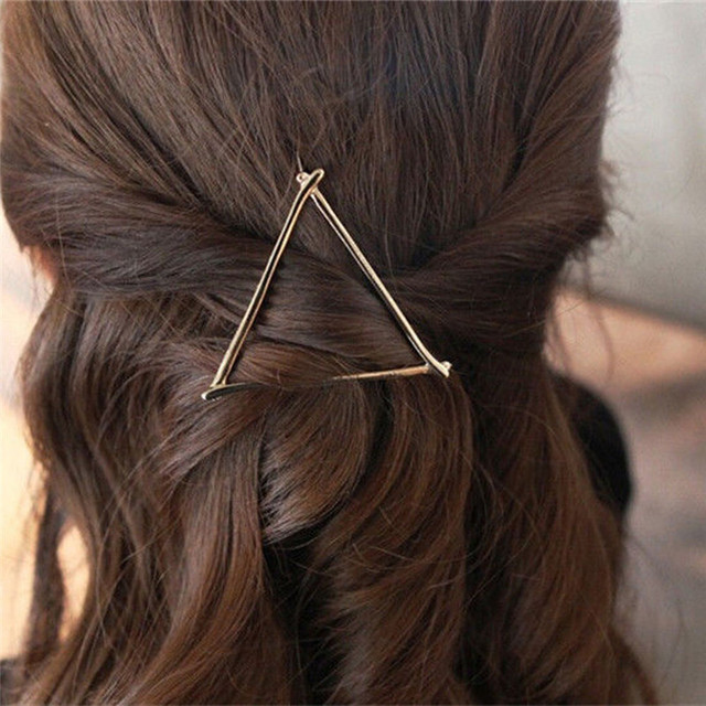 Fashion Girl Gold Silver Simple Elegant Metal Geometric Round Triangle Hairpin H