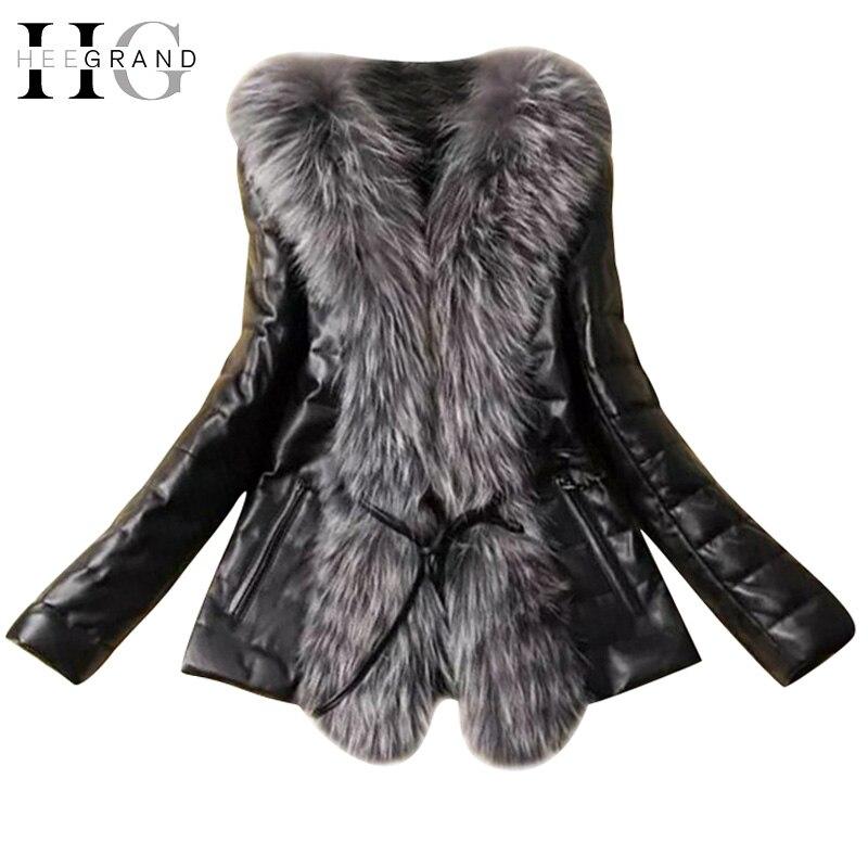 HEE GRAND Frauen 2018 Neue Stilvolle Dünne Winter Jacke Faux Pelz Plus  Größe Pelz Kragen Mantel 010a91cd8b