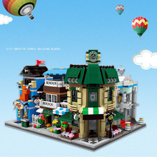 City Street View Compatible Legoings Coffee Store pet Store bridal Store Buildings Blocks Educational Toys For Children