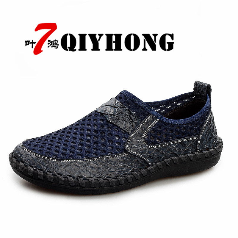 2017 Summer Breathable Mesh Shoes Mens Casual Shoes Genuine Leather Slip On Brand Fashion Summer Shoes Man Soft Comfortable in Men 39 s Casual Shoes from Shoes