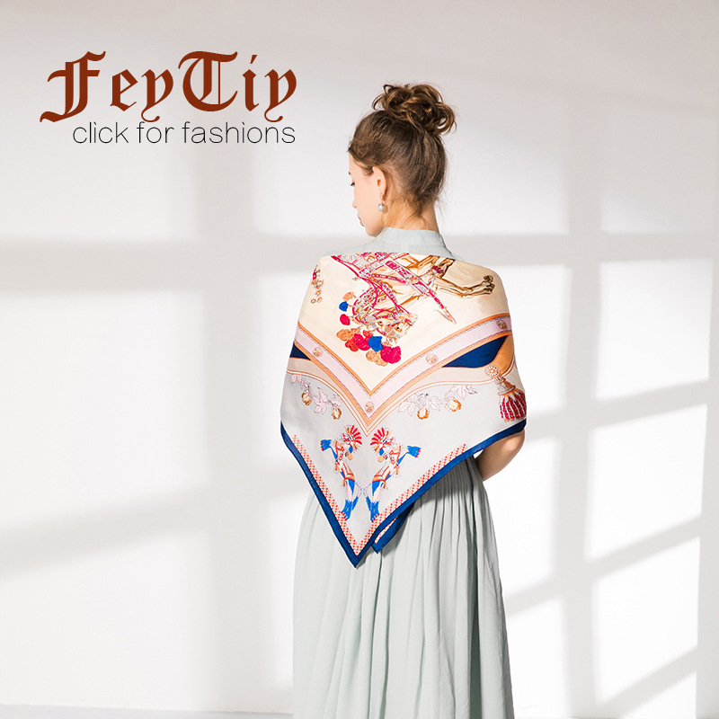2018 100% Pure Silk Scarf Women Royal Steed Printed Neckerchief Luxury Brand Scarves Large Shawl&Wraps 14mm Hand Rolled 90x90cm