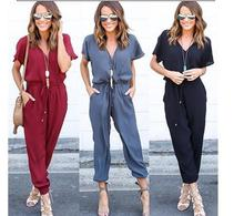 2017 Deep V-neck Sexy Drawstring Pant Ladies Causal Jumpsuit