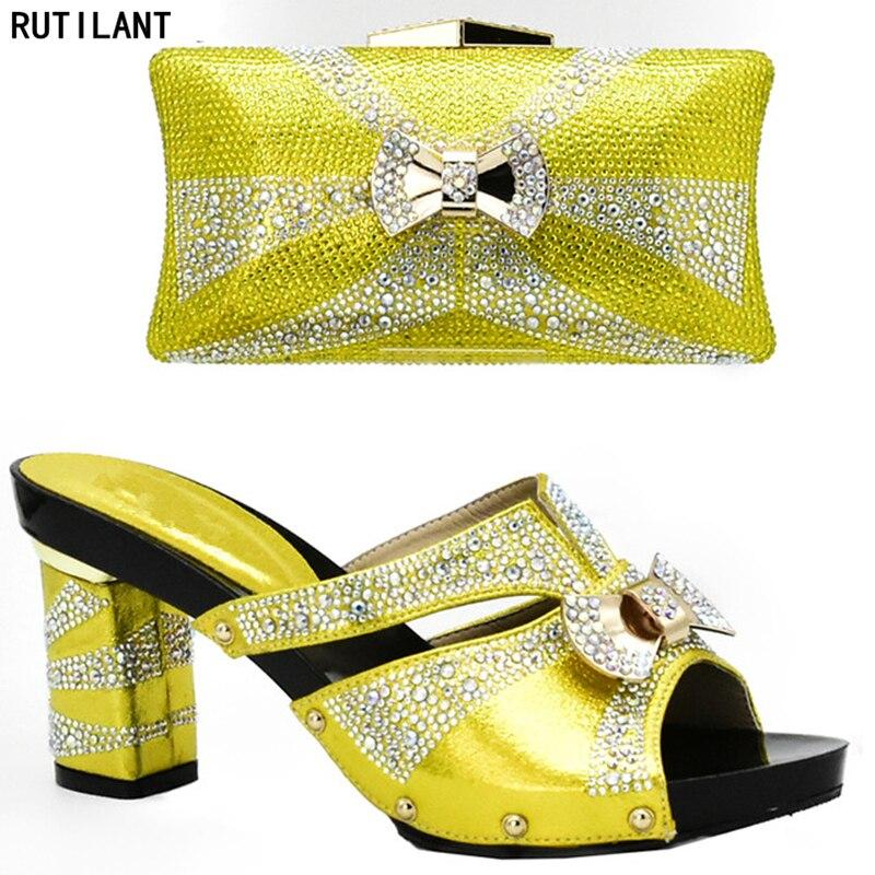 Bolsas El Decorado Que Con Para Rhinestone Bolsa verde Claro Coincida Y púrpura Llegada rojo Zapatos plata Nueva Mujeres Conjunto Negro amarillo Africanas Italianos oro xnZPOwz78q