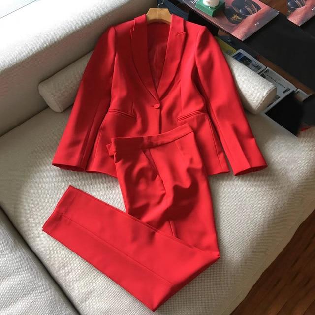 Dressnow red womens set 2 pcs set women pants sets 2018 spring long sleeve jacket and long pants suits
