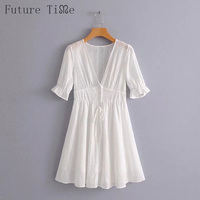 Future Time Solid White Half Sleeves Lace Dress V-Neck Collar Loose Mini Dress Above Knee Length 2018 Spring Sexy Dress DR188
