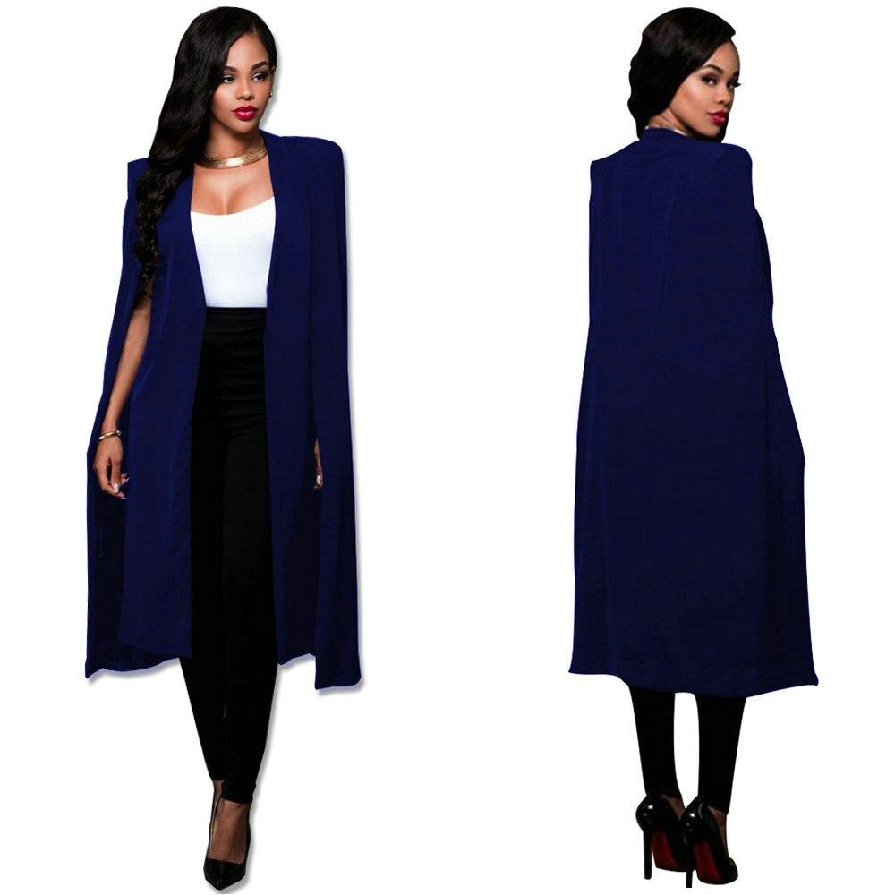 7 Size Fashion Blazer Cape Coats Long Solid Cloak OL Blazer Jackets Popular Blue Cape Blazers Personality Woman Suit Jackets