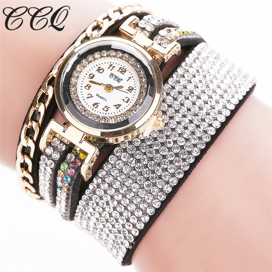CCQ Fashion Ladies Dress Watch Women Luxury Crystal Gold Wrist Watch For Women Bracelet Quartz Watch Relogio Feminino C45 ccq luxury brand vintage leather bracelet watch women ladies dress wristwatch casual quartz watch relogio feminino gift 1821