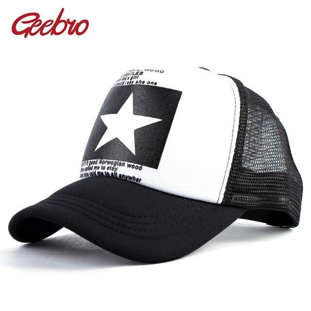0e0c3466315 Geebro Summer Star Snapback Baseball Cap Men Letter Sunshade Mesh Net  Snapback Cap Women Outdoor Sports