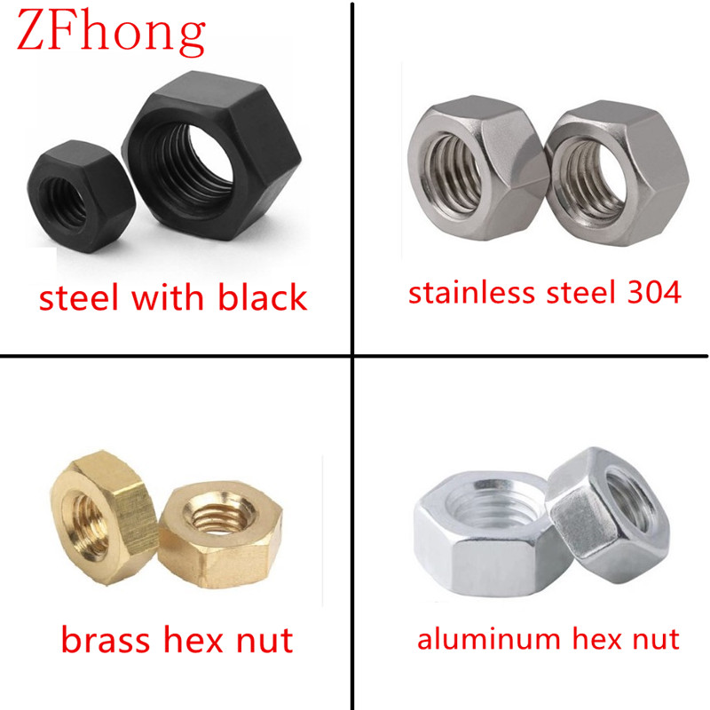2-50pcs DIN934 M1 M1.2 M1.4 M1.6 M2 M2.5 M3 M4 M5 M6 M8 M10 M12 Stainless Steel  Brass Steel With Black Aluminum Hex Nut Nuts