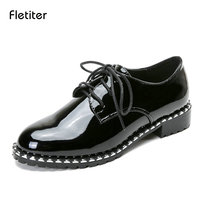 Fletiter Flats British Style Oxford Shoes Women Spring Leather Oxfords Flat Heel Casual Shoes Lace Up
