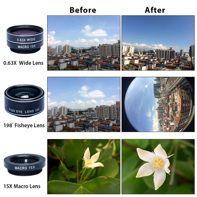 APEXEL Universal Clip 5 in 1 Fish eye Lens Wide Angle Macro 2X Teleconverter CPL Mobile Phone Lens For iPhone 6s 7 6plus Sams s8 4