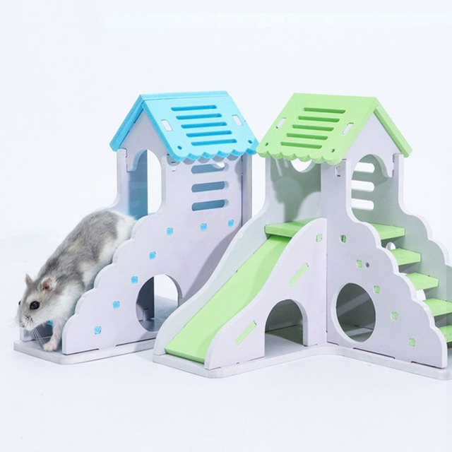 Wooden Hamster Staircase Sleeping House Golden Bear Nest Bed for Small Pets Chinchillas Guinea-pig Small Pets Cage Toys 1